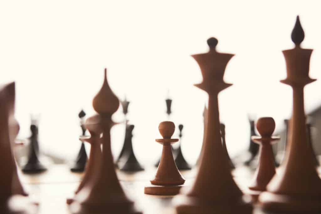 chess figures business leadership and strategic concept